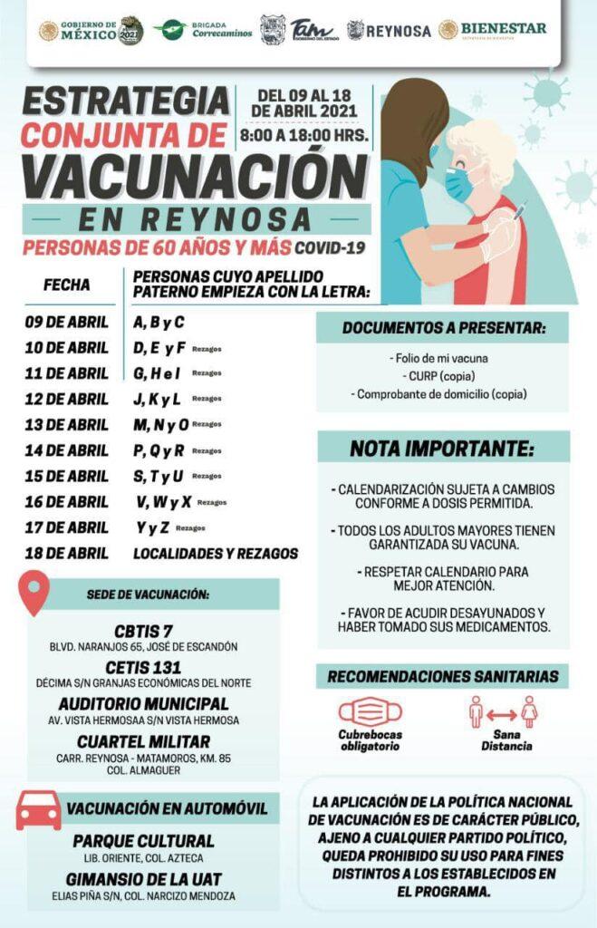 inicia campaña de vacunación en Reynosa Tamaulipas.